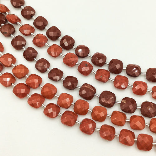 Red Jasper Faceted Checker Beads (MULTIPLE SIZES)