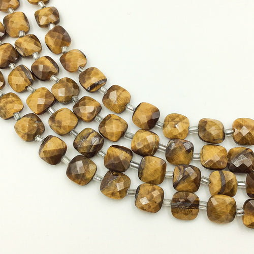 Tiger's Eye Faceted Checker Beads