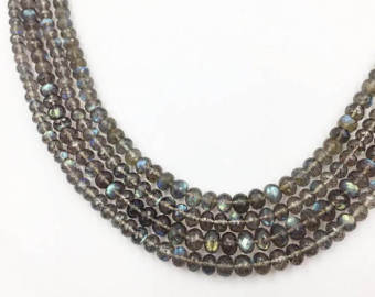 Labradorite AA+ Faceted Roundel Beads (MULTIPLE SIZES)