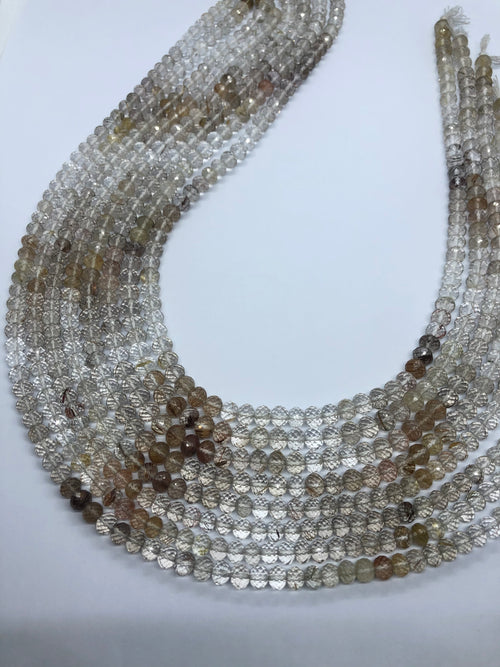 Rutilated Quartz faceted Roundel shape beads 6MM