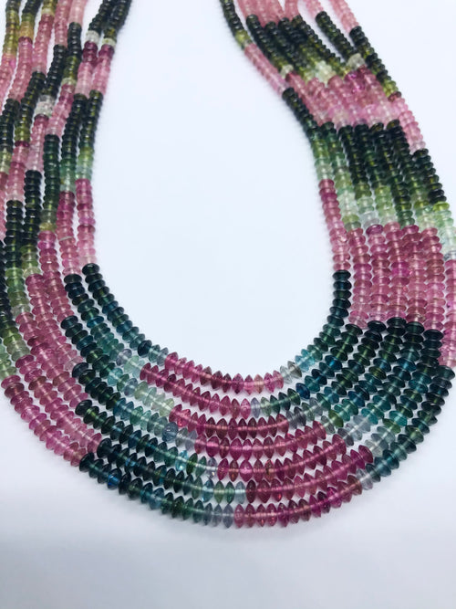 Watermelon Tourmaline Smooth Flat shape beads 4.5 MM