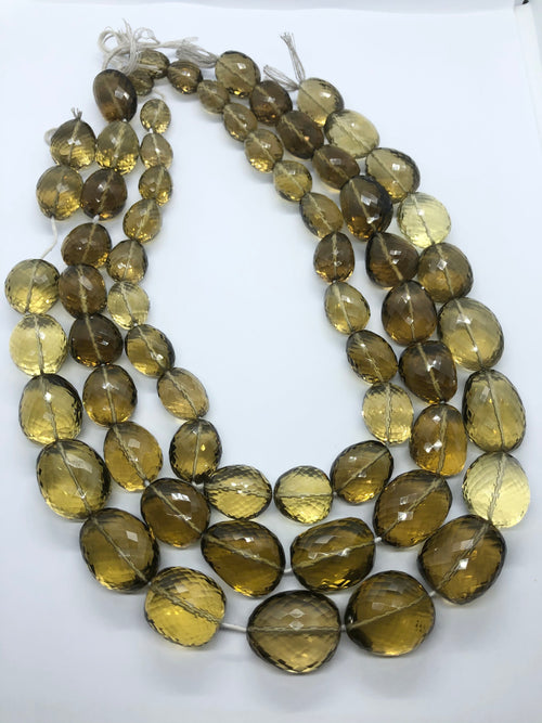 Cognac Quartz faceted nugget shape beads