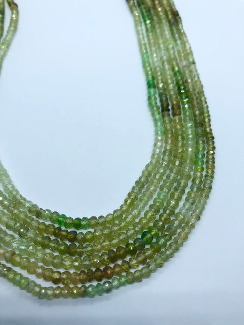 Green Garnet Facated Roundel shape beads 3-4MM