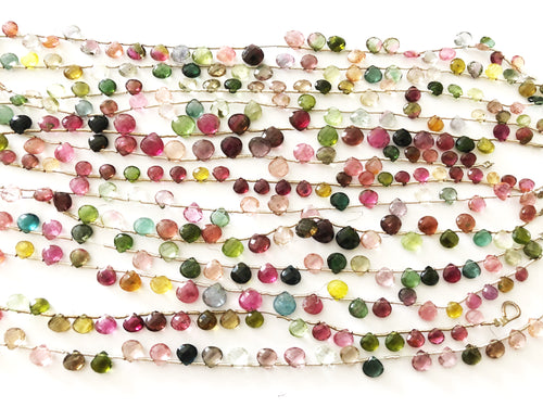 Multi Tourmaline Faceted Heart Shape Briolettes (MULTIPLE SIZES)