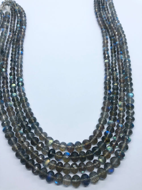 Labradorite Facated Roundel Graduated shape beads 6-7M