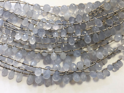 Blue Chalcedony Faceted Round Bottom Briolettes (MULTIPLE SIZES)