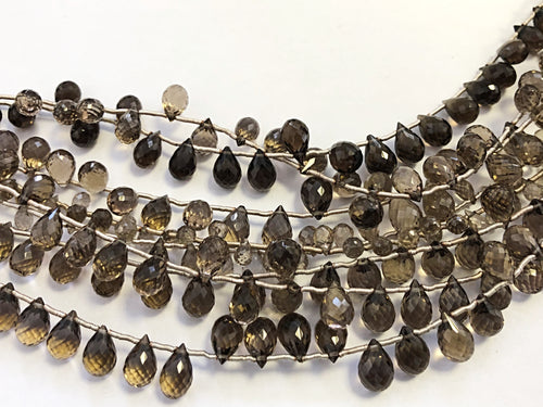 Smokey Quartz Faceted Round Bottom Briolettes (MULTIPLE SIZES)