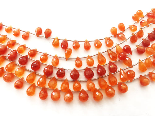 Carnelian Dark Faceted Round Bottom Briolettes (MULTIPLE SIZES)