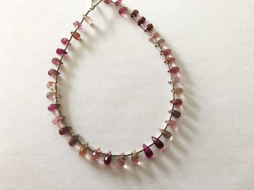 Pink Tourmaline Faceted Round Bottom Briolettes (MULTIPLE SIZES)