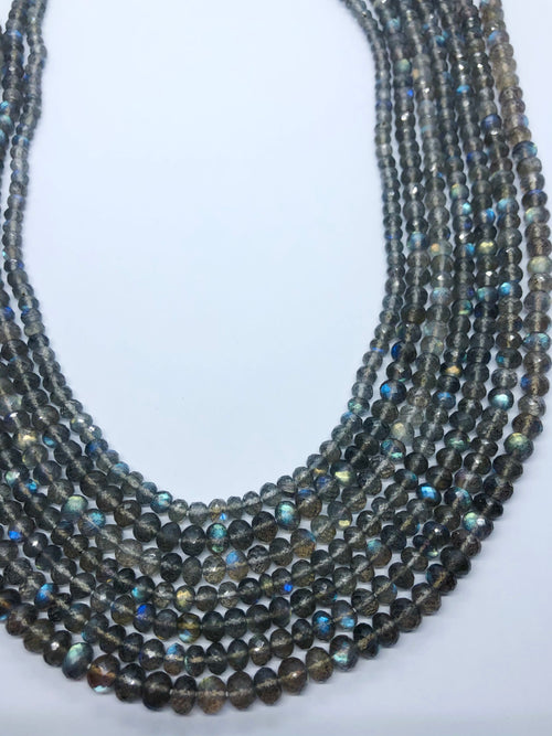 Labradorite Facated Roundel shape beads 5.5-6M