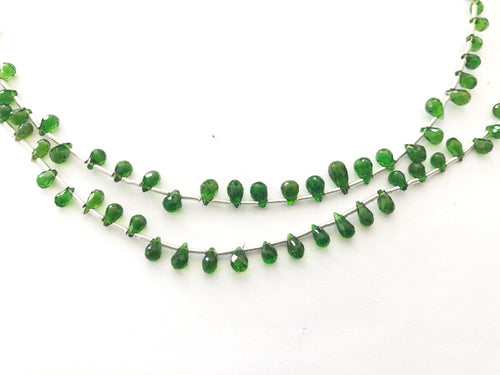Chromo diopside Faceted Round Bottom Briolettes (MULTIPLE SIZES)