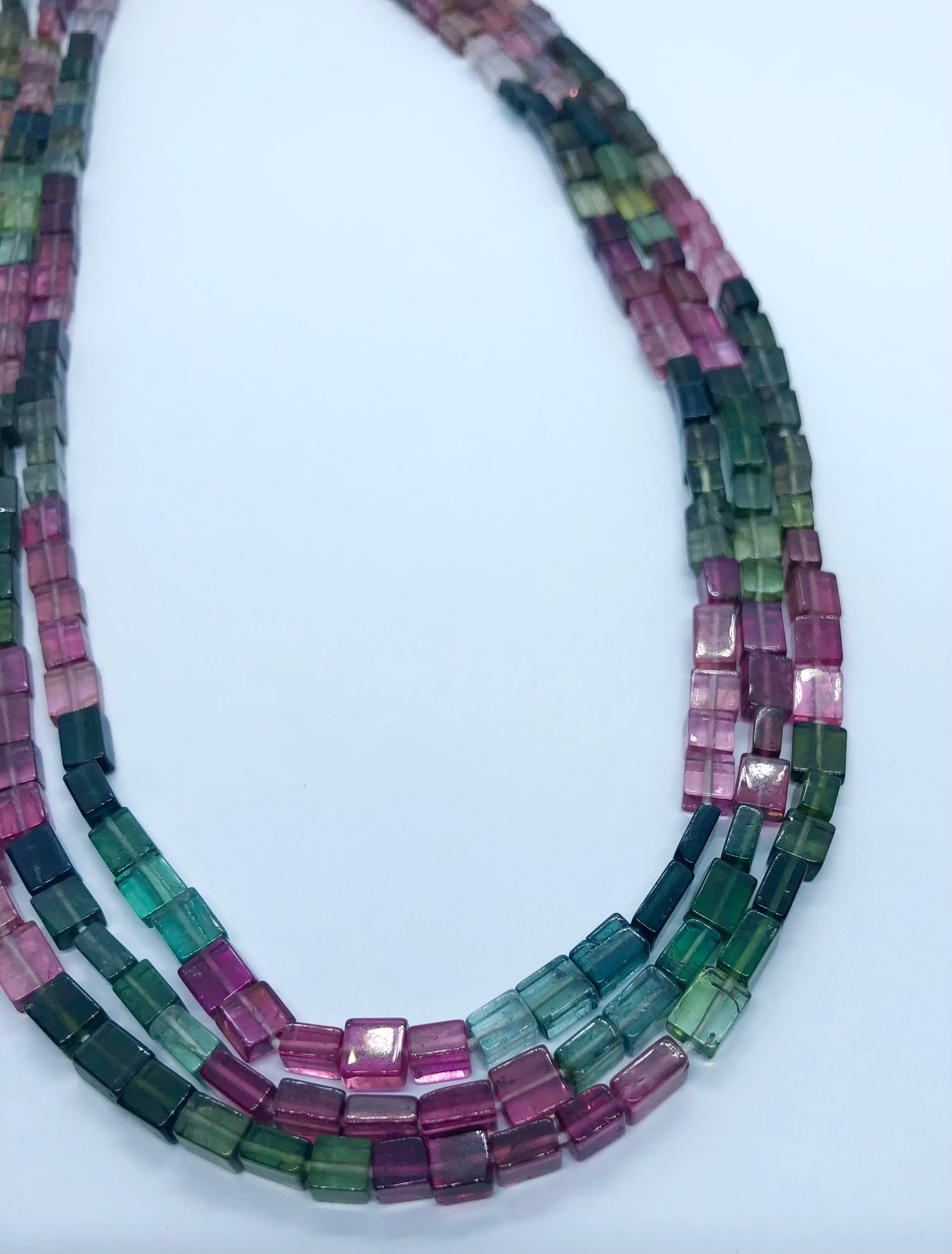 Watermelon Tourmaline Smooth Cube shape beads 4-5 MM