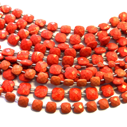 Coral Color Synthetic Faceted Checkers (MULTIPLE SIZES)