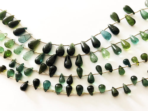 Green/Blue Tourmaline Smooth Round Bottom Briolettes (MULTIPLE SIZES)