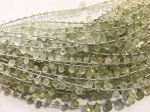 Prehnite Faceted Round Bottom Briolettes (MULTIPLE SIZES)