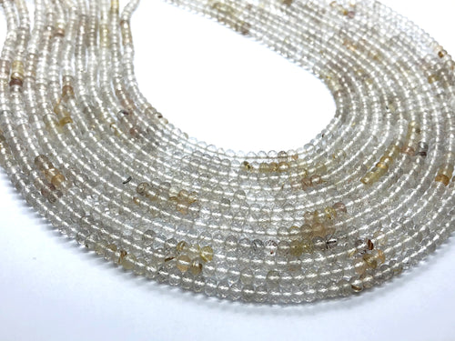 Rutilated Quartz faceted Roundel shape beads 4-5mm