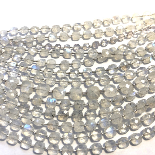 Rainbow Moonstone Faceted Checker  (MULTIPLE SIZES)