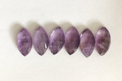 Amethyst Marquee Shape Rose Cuts Mix 8-10MM Lot 6