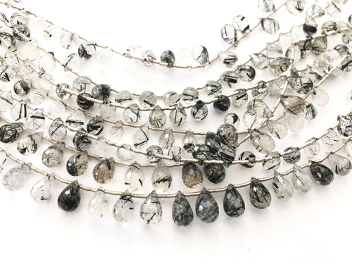 Tourmalated Quartz Faceted Round Bottom Briolettes (MULTIPLE SIZES)