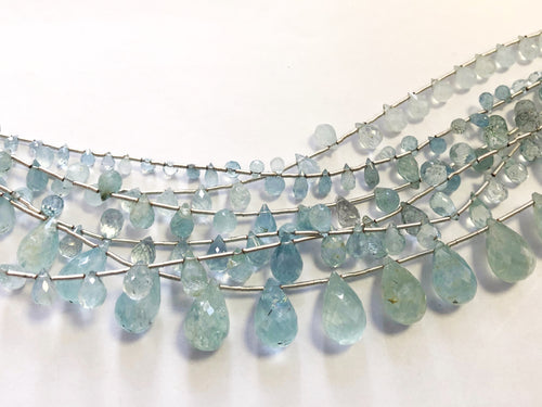 Aquamarine Faceted Round Bottom Briolettes (MULTIPLE SIZES)