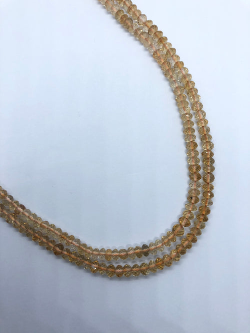 Citrine faceted Roundel shape beads 3MM
