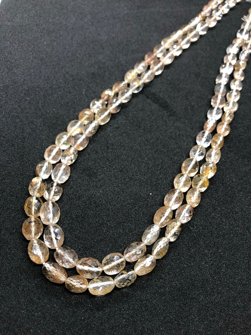 Rutilated Quartz faceted Oval shape beads 8mm