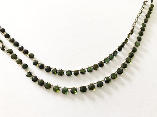Green Tourmaline Faceted Heart Shape Briolettes (MULTIPLE SIZES)