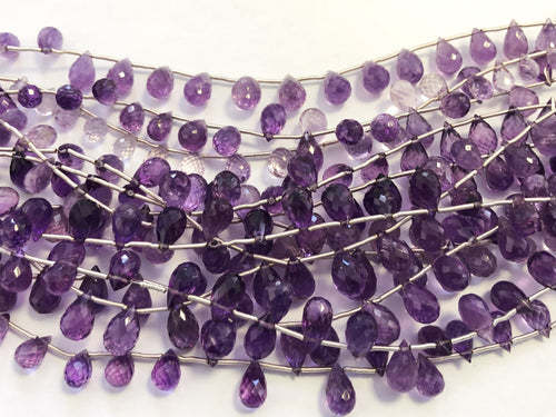 Amethyst Dark Faceted Round Bottom Briolettes (MULTIPLE SIZES)