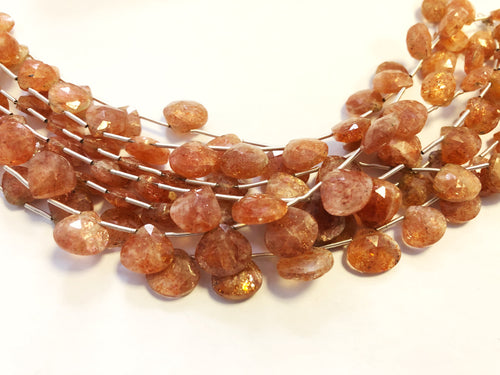 Sunstone Faceted HEART SHAPE (MULTIPLE SIZES)