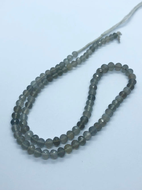 Grey Moonstone Faceted Round shape beads 6 MM