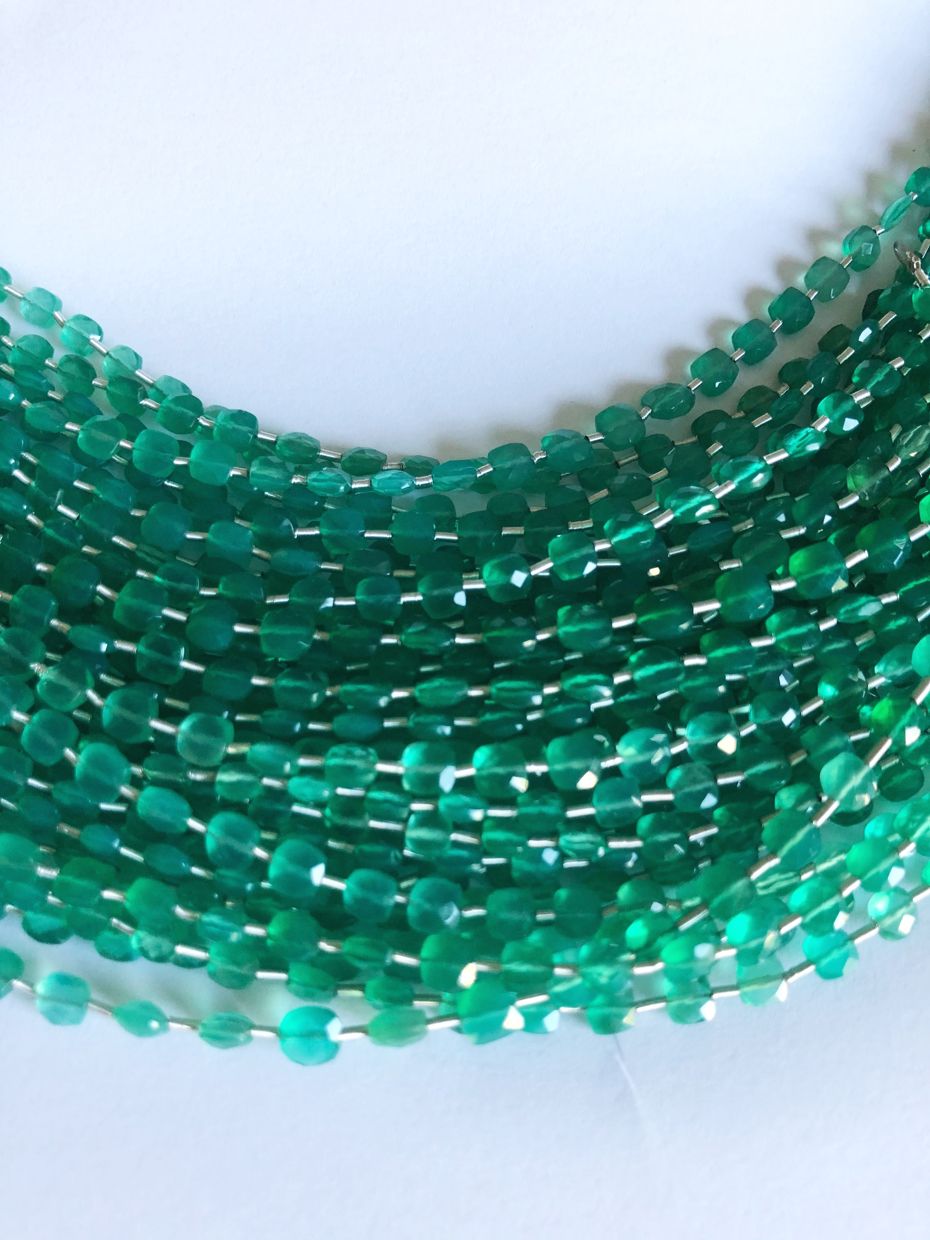 Green Onyx 4MM  Faceted Checker (MULTIPLE SIZES)