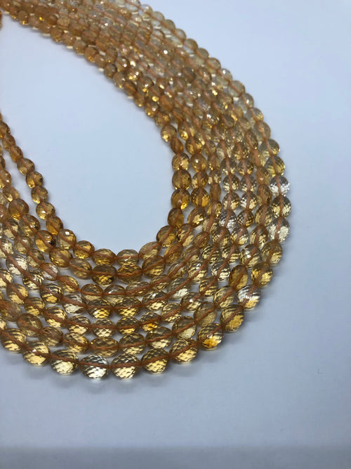 Citrine faceted Oval shape beads 5-6mm