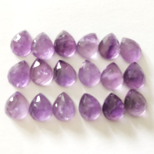 Amethyst Pear Shape Rose Cuts Mix 8-10MM Lot 7