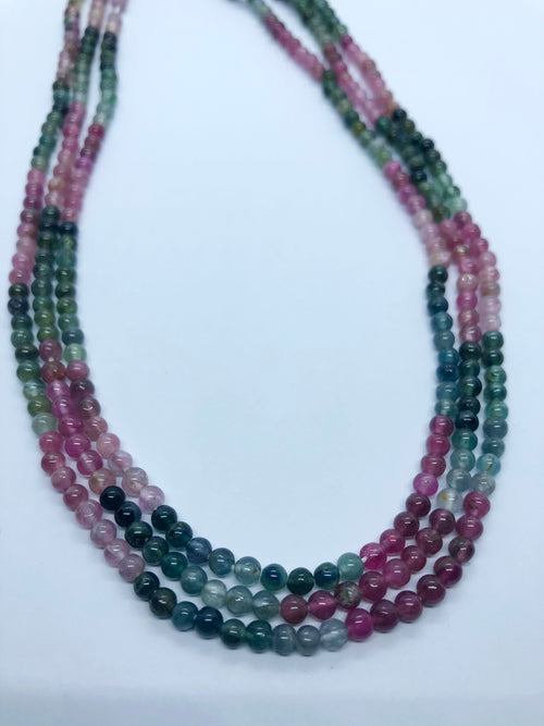 Watermelon Tourmaline Smooth Round shape beads 3.5 MM