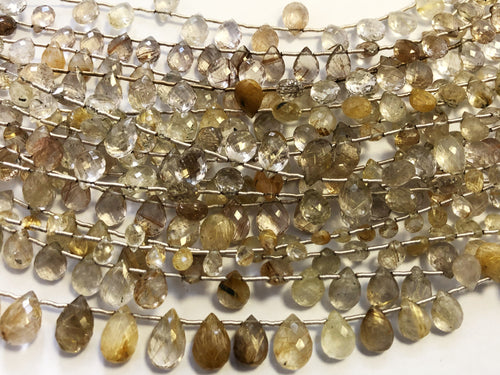 Rutilated Quartz Faceted Tear Drop (MULTIPLE SIZES)