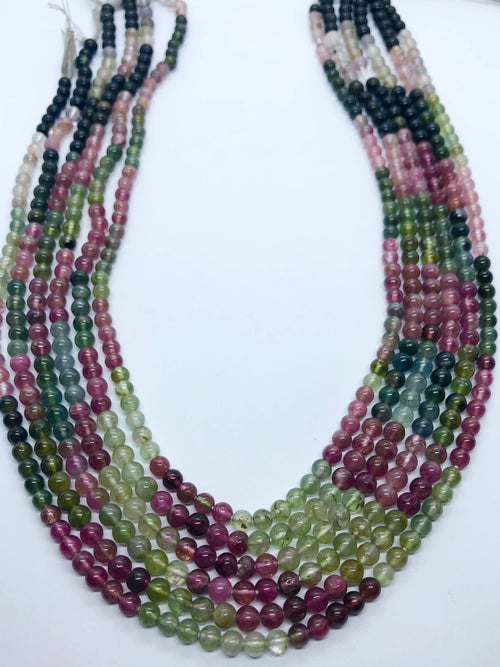 Watermelon Tourmaline Smooth Round shape beads 4-5 MM