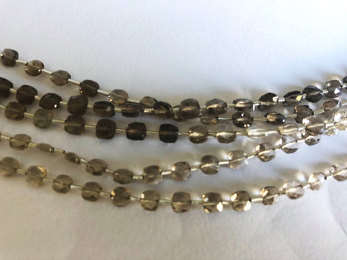 Smokey Quartz 4MM  Faceted Checker (MULTIPLE SIZES)