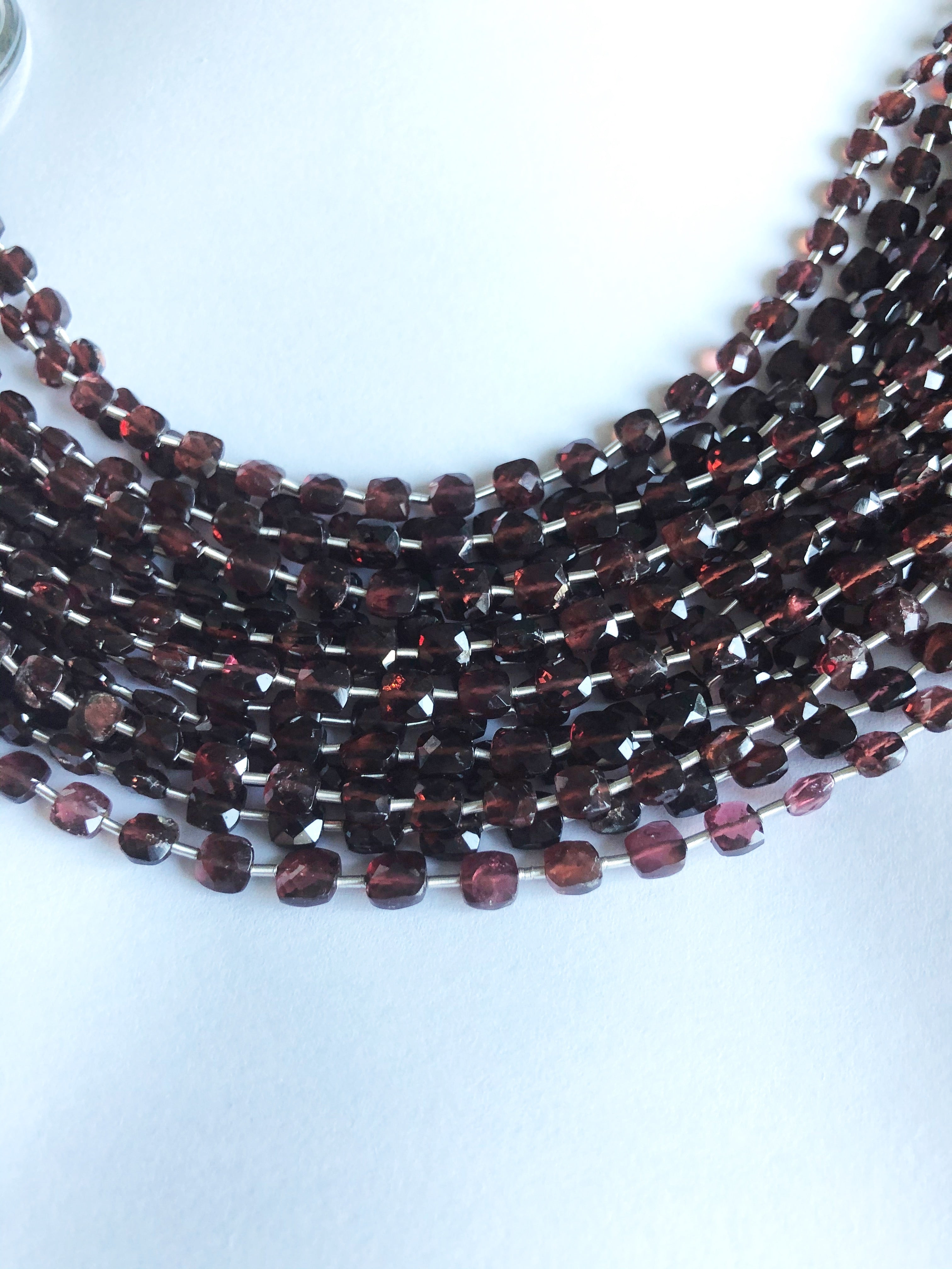 Red Garnet 4MM  Faceted Checker (MULTIPLE SIZES)