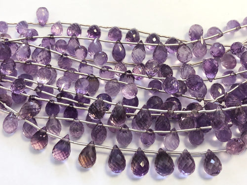 Amethyst Light Faceted Round Bottom Briolettes (MULTIPLE SIZES)