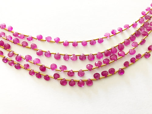 Pink Sapphire Faceted Heart Shape Briolettes (MULTIPLE SIZES)