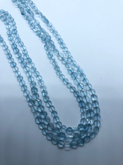 Aquamarine Flat faceted coin shape beads 6MM