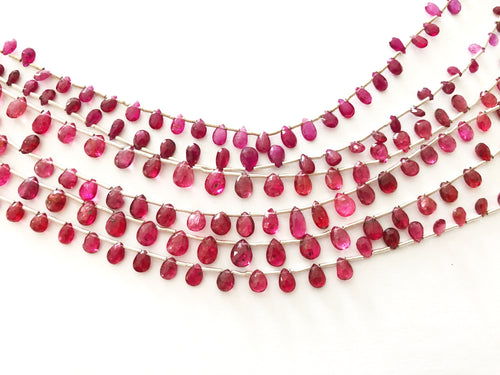 Pink Sapphire Faceted Tear Drop Briolettes (MULTIPLE SIZES)