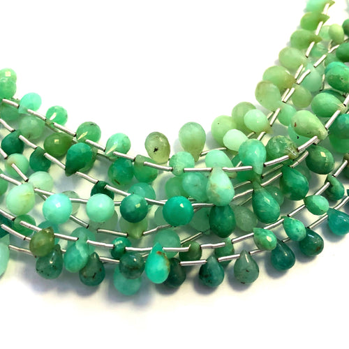 Chrysoprase Faceted Round Bottom Briolettes (MULTIPLE SIZES)