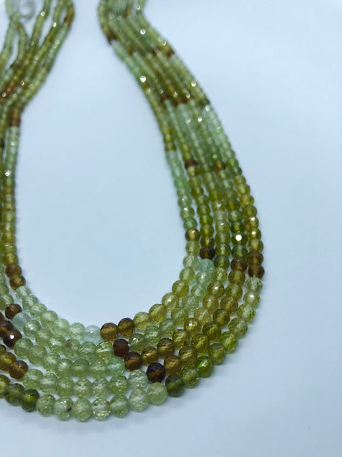 Green Garnet Facated Round shape beads 4-5 MM