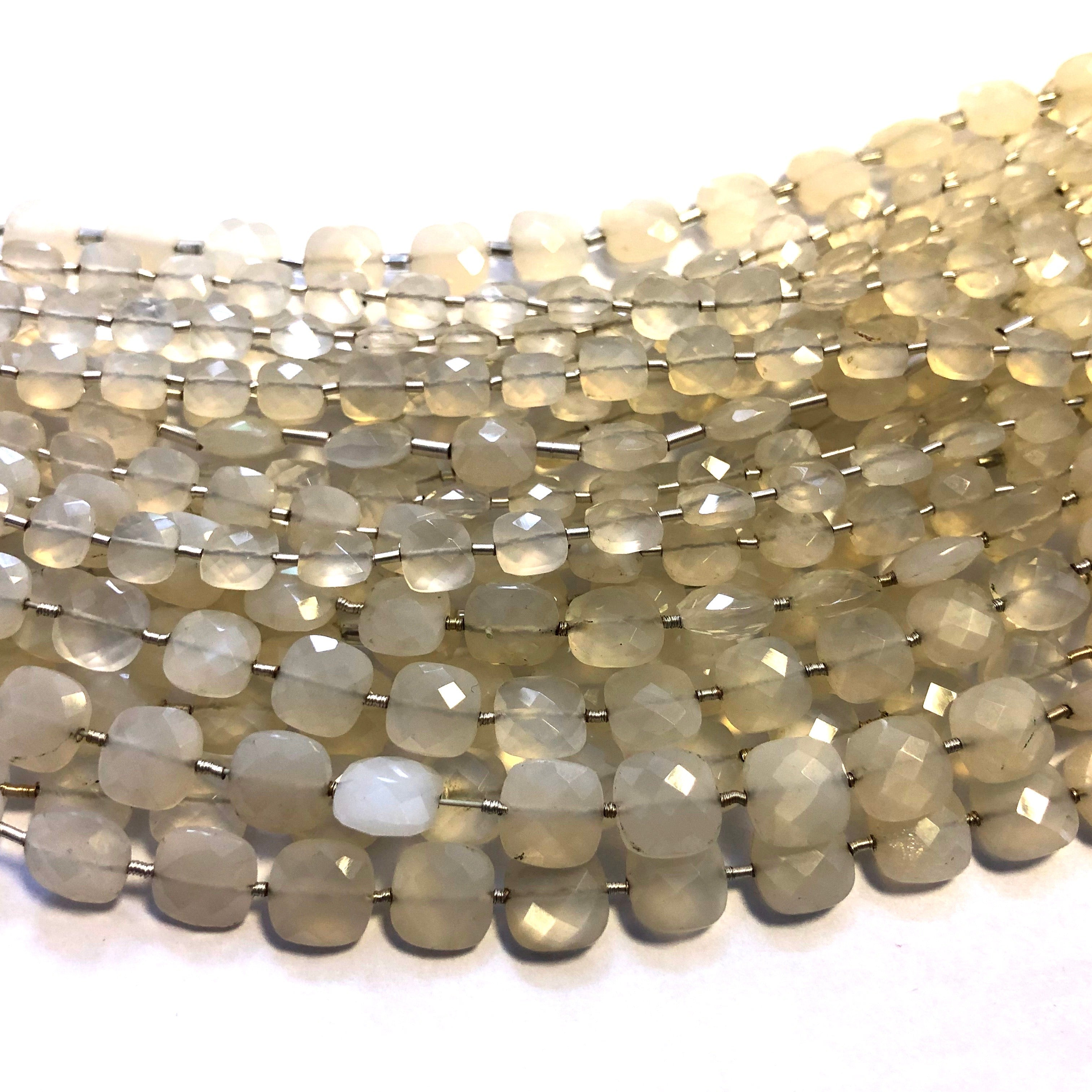 Grey Moonstone Faceted Checker (MULTIPLE SIZES)