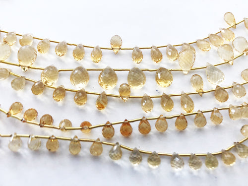 Citrine Faceted Round Bottom Briolettes (MULTIPLE SIZES)