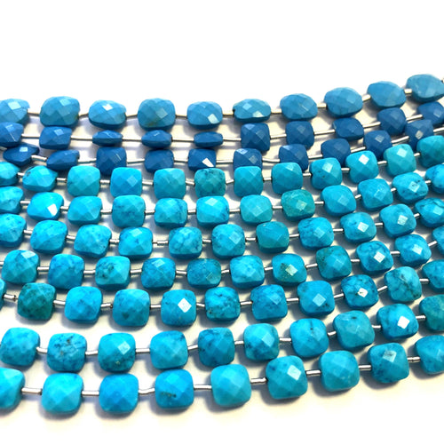 Turquoise (Reconstituted) Faceted Checker  (MULTIPLE SIZES)