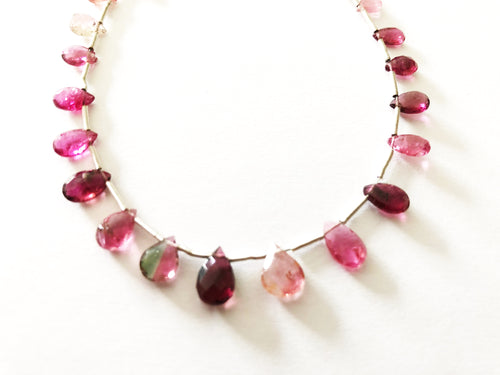 Pink Tourmaline Faceted Tear Drop Briolettes (MULTIPLE SIZES)