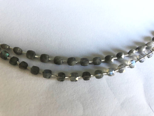 Labradorite 4MM  Faceted Checker (MULTIPLE SIZES)