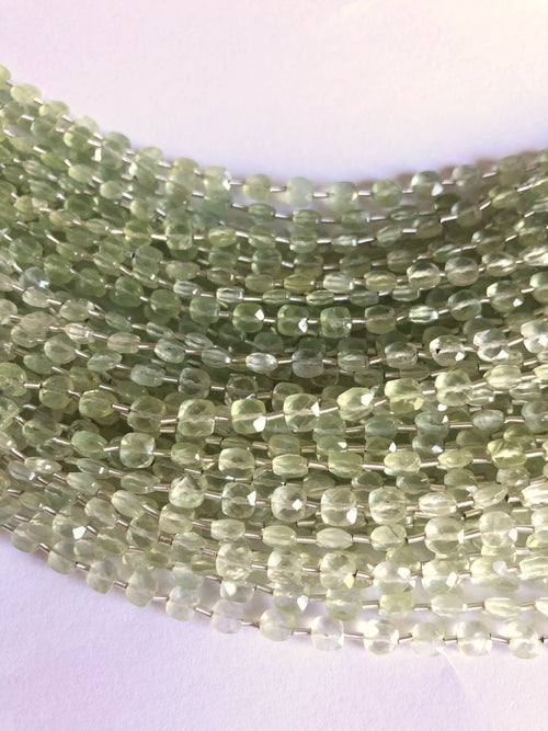 Prehnite 4MM  Faceted Checker (MULTIPLE SIZES)